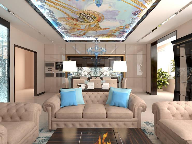 Диванная зона гостиной в квартире: Гостиная в . Автор – Студия дизайна интерьера Руслана и Марии Грин, Модерн