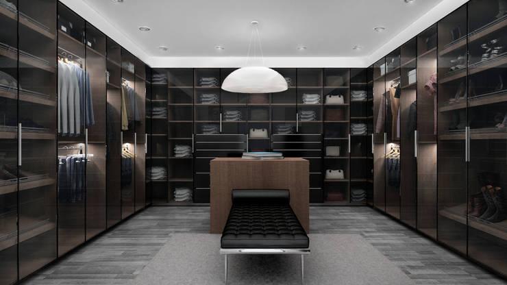 Zona comprtida: Vestidores y closets de estilo  por Citlali Villarreal Interiorismo & Diseño