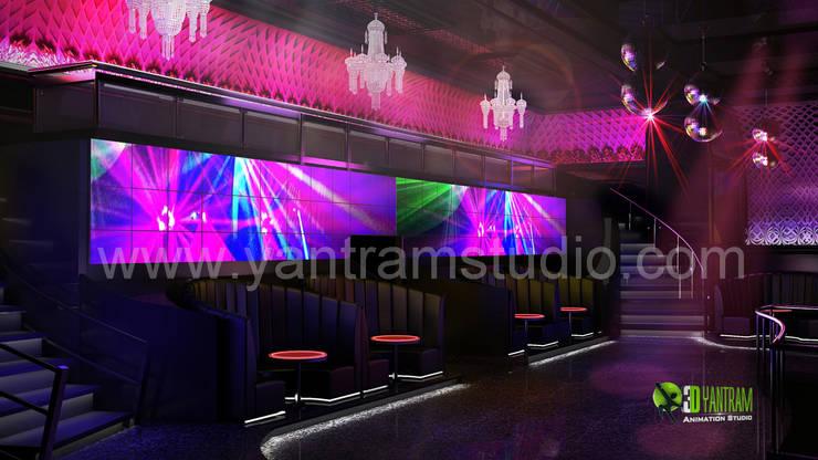3D Interior Design Rendering For Modern Bar:  Artwork by Yantram Architectural Design Studio