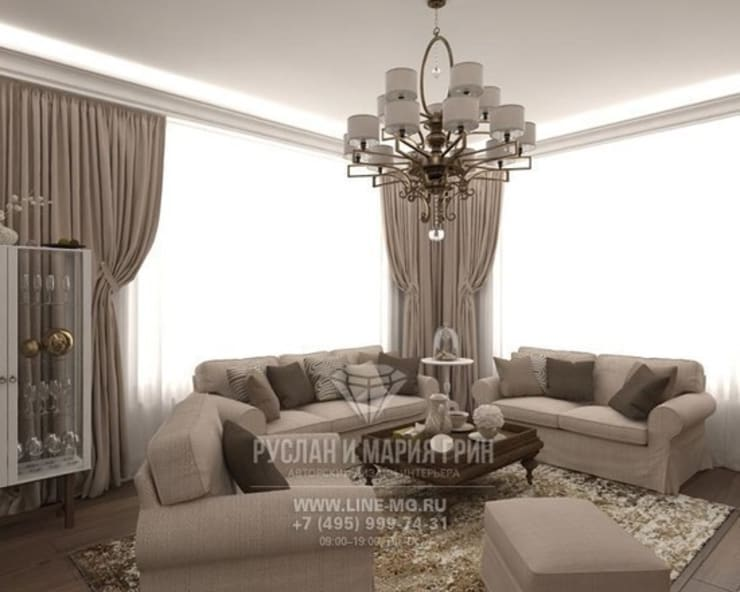 Диванная зона гостиной: Гостиная в . Автор – Студия дизайна интерьера Руслана и Марии Грин