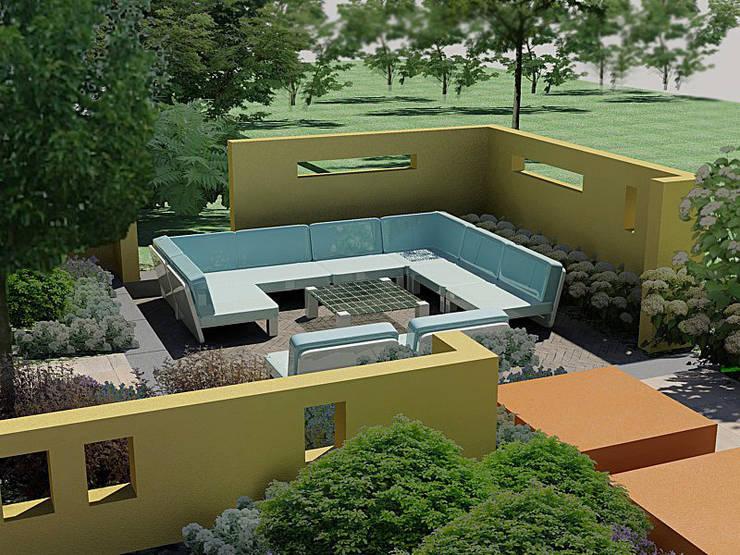 Ontwerp impressie in 3D: moderne Tuin door Bladgoud-tuinen