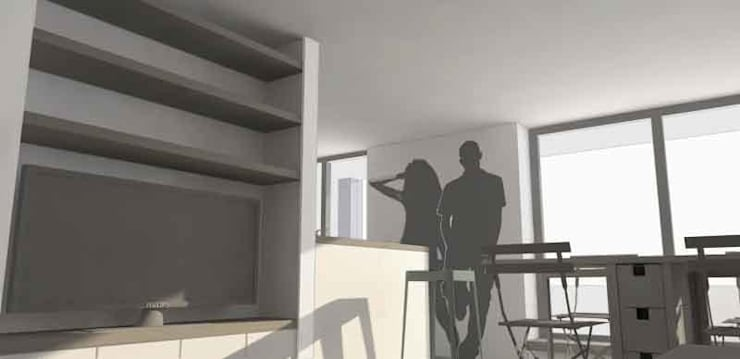 minimalistische Woonkamer door Lüd studio d'architecture