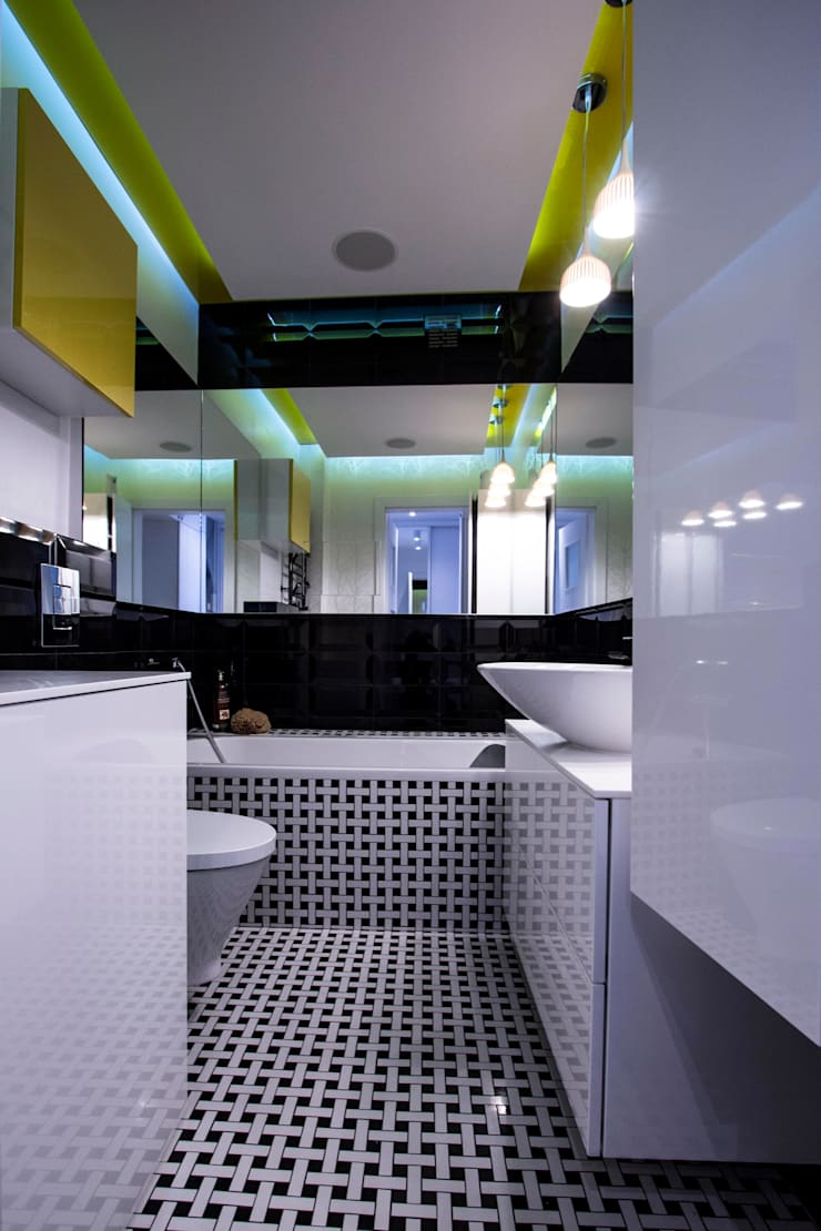 Minimalistyczny Pop-Art: styl , w kategorii Łazienka zaprojektowany przez Arkadiusz Grzędzicki projektowanie wnętrz,Minimalistyczny