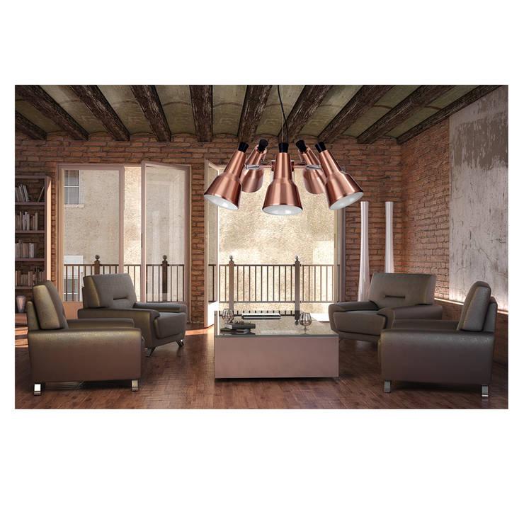 Aranżacja pomieszczenia z wykorzystaniem lampy Auletta.: styl , w kategorii Salon zaprojektowany przez Ekotechnik24.pl - lampy na indywidualne zamówienie