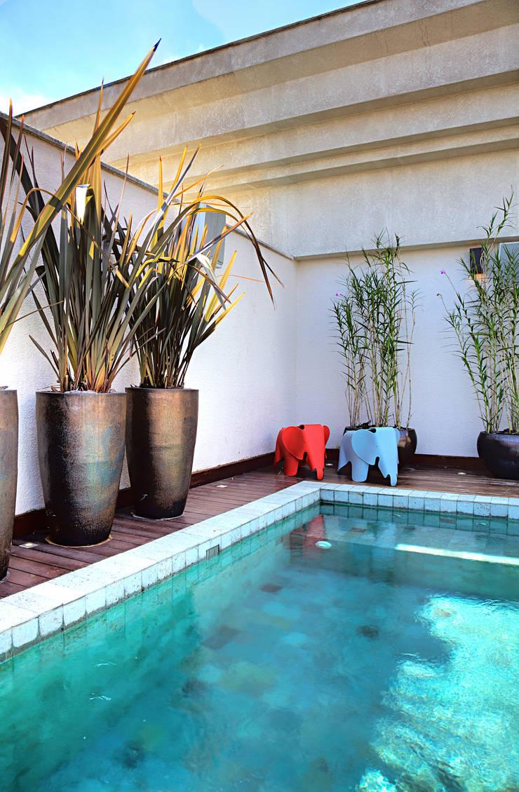 Triplex Alto de Pinheiros: Piscinas  por studio scatena arquitetura