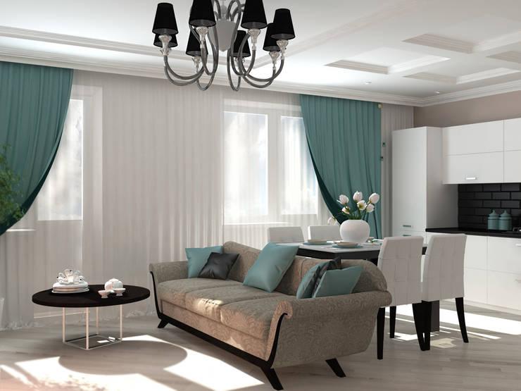 Гостиная черно-белое ар-деко: Гостиная в . Автор – Kalista