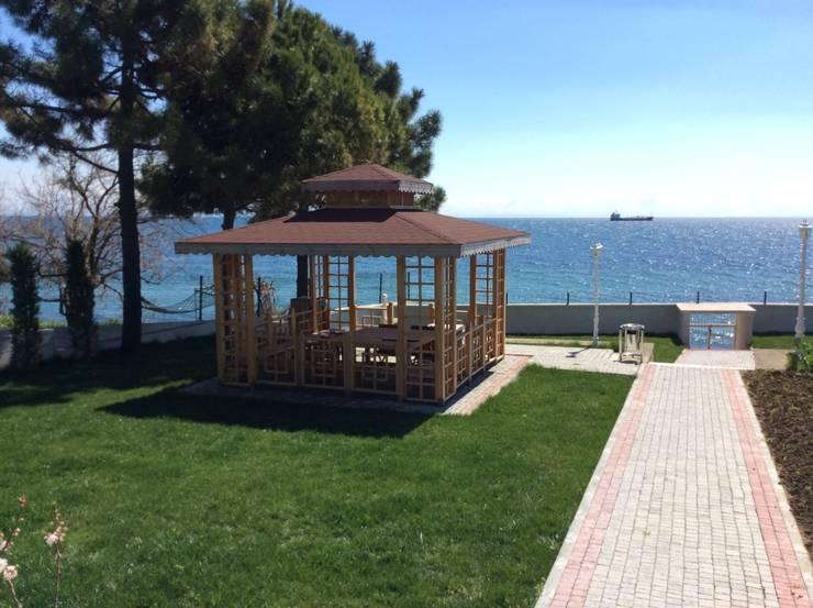 AĞAÇ EV MOBİLYA PEYZAJ LTD. ŞTİ. – AHŞAP KARE GAZEBO:  tarz , Akdeniz
