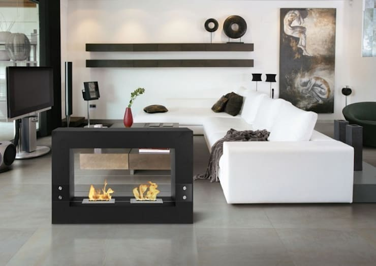 Biolareira Barcelona: Sala de estar  por Clearfire - Lareiras Etanol