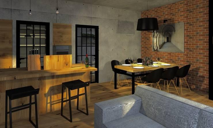 Przestrzeń rodzinna: styl , w kategorii Jadalnia zaprojektowany przez Agata Smok Wnętrza,Industrialny