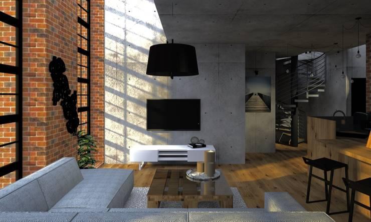 Przestrzeń rodzinna: styl , w kategorii Salon zaprojektowany przez Agata Smok Wnętrza,Industrialny