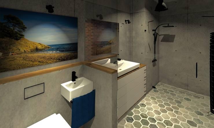 Dolna łazienka: styl , w kategorii Łazienka zaprojektowany przez Agata Smok Wnętrza,Industrialny