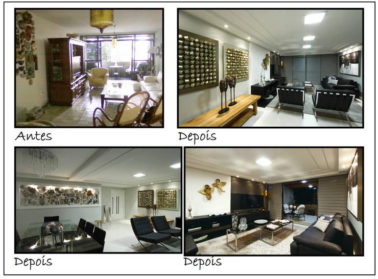 Antes e Depois: Sala de estar  por Celia Beatriz Arquitetura,