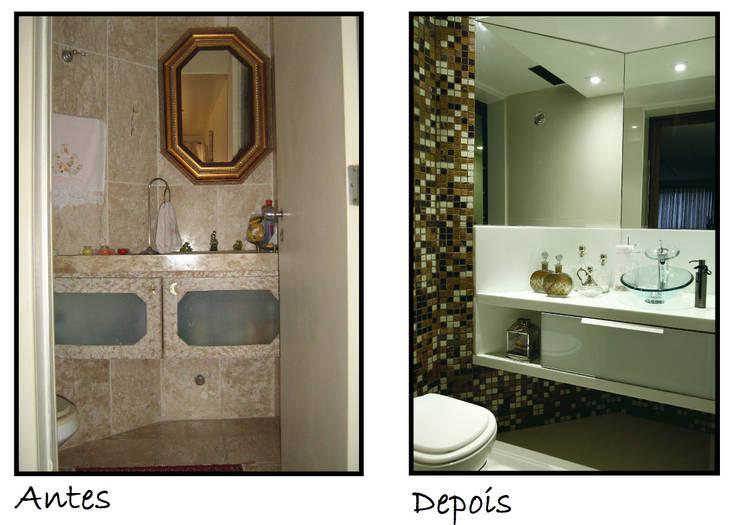 Antes e Depois: Banheiro  por Celia Beatriz Arquitetura,