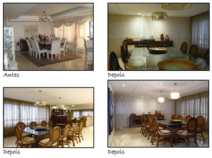 Antes e Depois: Salas de jantar  por Celia Beatriz Arquitetura,