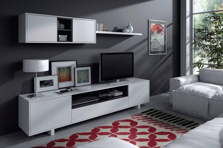 Conjunto de salón Belus color blanco brillo/negro, diseño moderno y minimalista: Salones de estilo clásico de Icommers Every S.L.