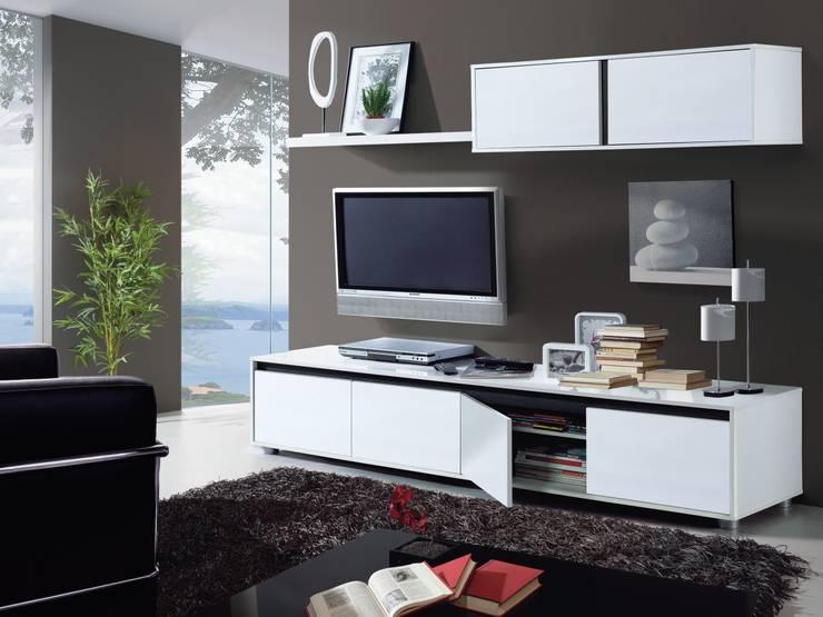 Conjunto de salón Aura color blanco brillo, diseño moderno y minimalista.: Salones de estilo  de Icommers Every S.L.