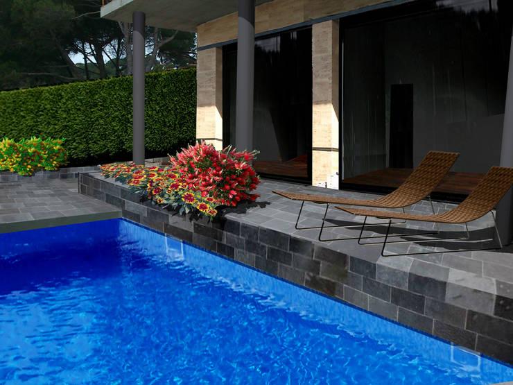 Collage de la terraza con jardinera:  de estilo  de LANDSHAFT