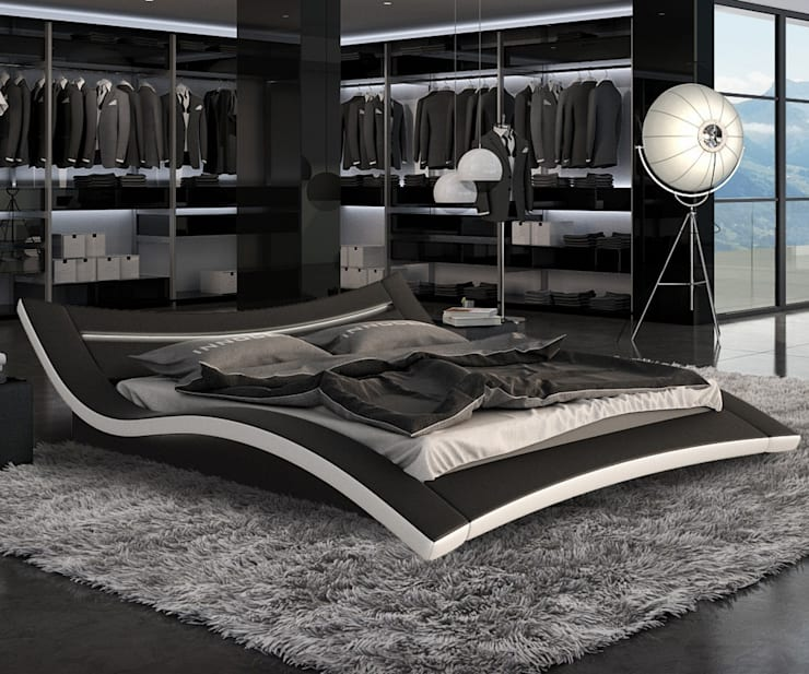 Polsterbett 200x200 Schwarz und Weiss mit LED: ausgefallene Schlafzimmer von DELIFE