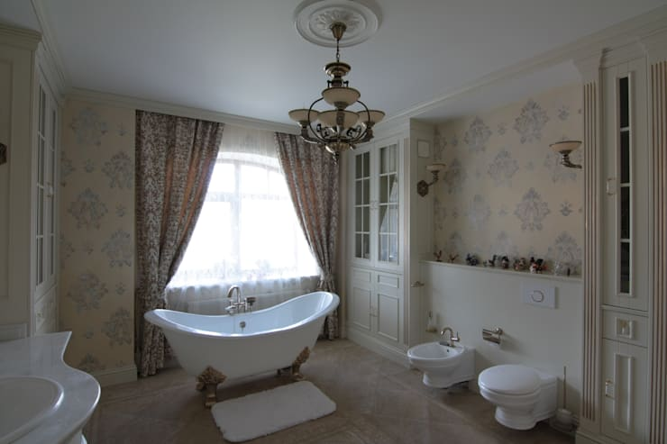Коттедж в п. Шувакиш: Ванные комнаты в . Автор – Архитектурно-дизайнерская студия 'Арт Диалог'