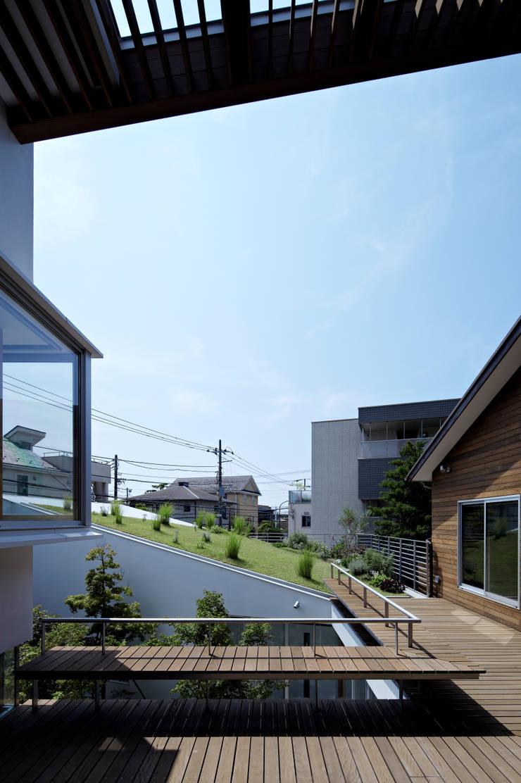 屋上デッキからの眺め: 工藤宏仁建築設計事務所が手掛けたテラス・ベランダです。