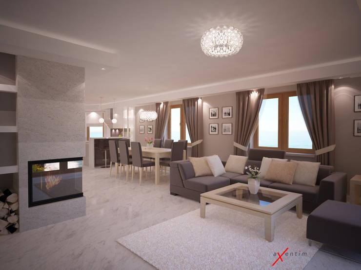 Dom jednorodzinny: styl , w kategorii Salon zaprojektowany przez Axentim