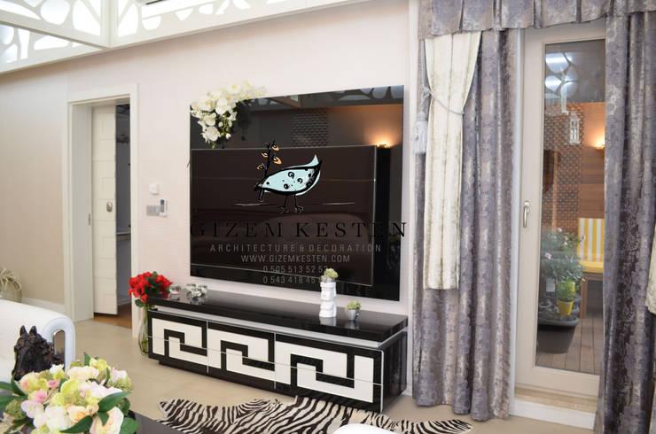 Gizem Kesten Architecture / Mimarlik – OZEL TASARIM TV UNITESI:  tarz Oturma Odası, Modern