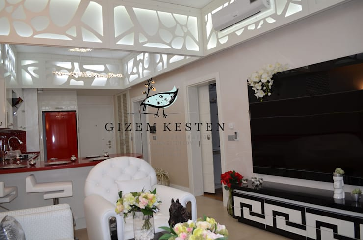 Gizem Kesten Architecture / Mimarlik – Siyah Beyaz asalet :  tarz Oturma Odası, Modern