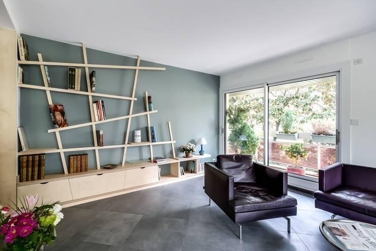 La cuisine au coeur: Salon de style de style Moderne par Atelier d'Ersu & Blanco