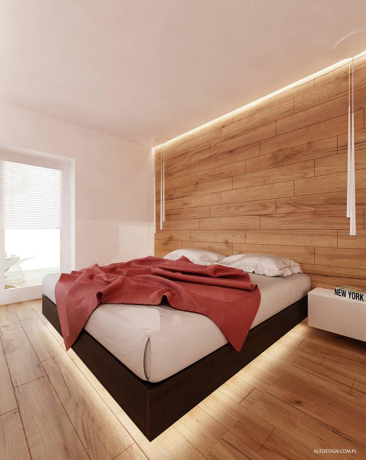 Projekt sypialni w drewnie : styl , w kategorii Sypialnia zaprojektowany przez Ale design Grzegorz Grzywacz