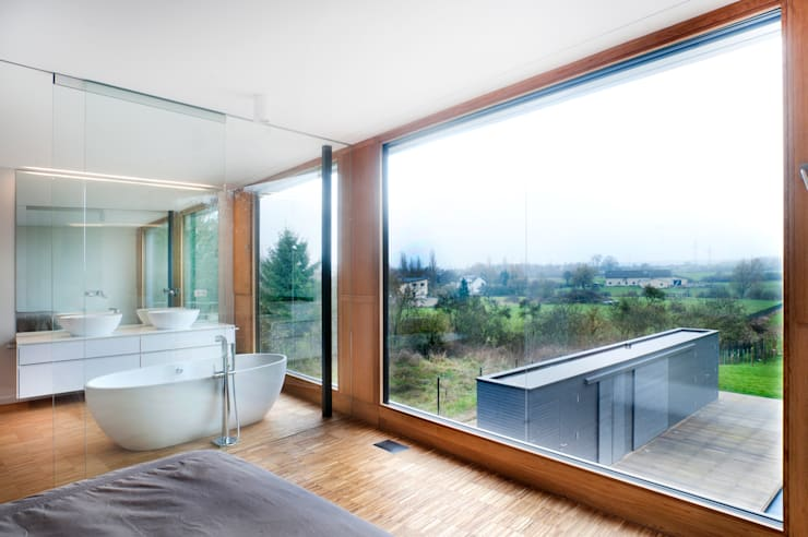 غرفة نوم تنفيذ STEINMETZDEMEYER architectes urbanistes