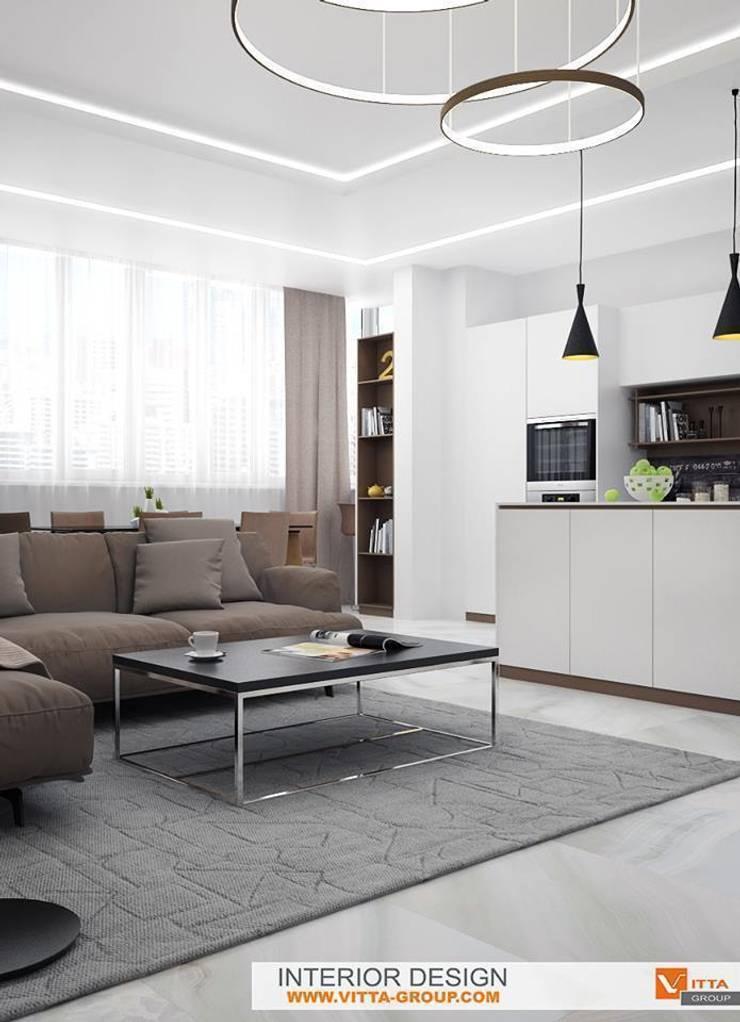 Contemporary apartments: Гостиная в . Автор – VITTA-GROUP
