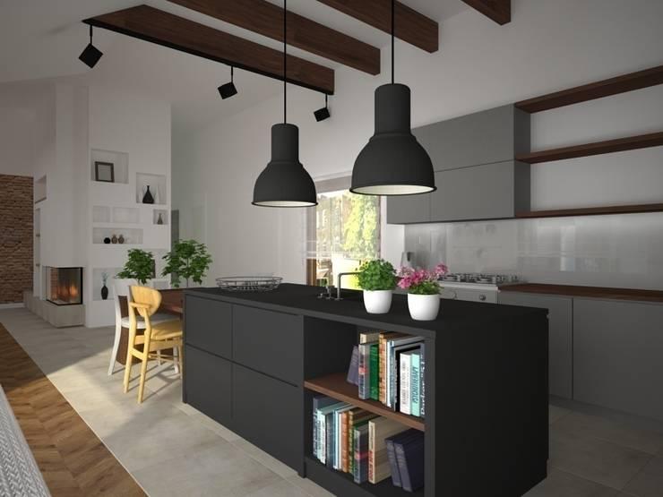 Dom w Łodzi: styl , w kategorii Kuchnia zaprojektowany przez Kameleon - Kreatywne Studio Projektowania Wnętrz