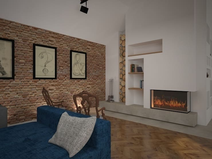 Dom w Łodzi: styl , w kategorii Salon zaprojektowany przez Kameleon - Kreatywne Studio Projektowania Wnętrz
