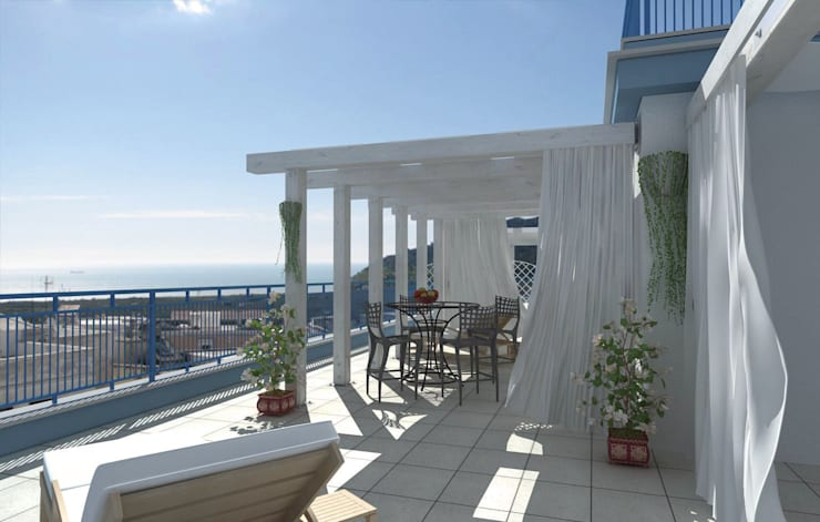 Veranda 01a: Terrazza in stile  di SolidART Digital Architecture