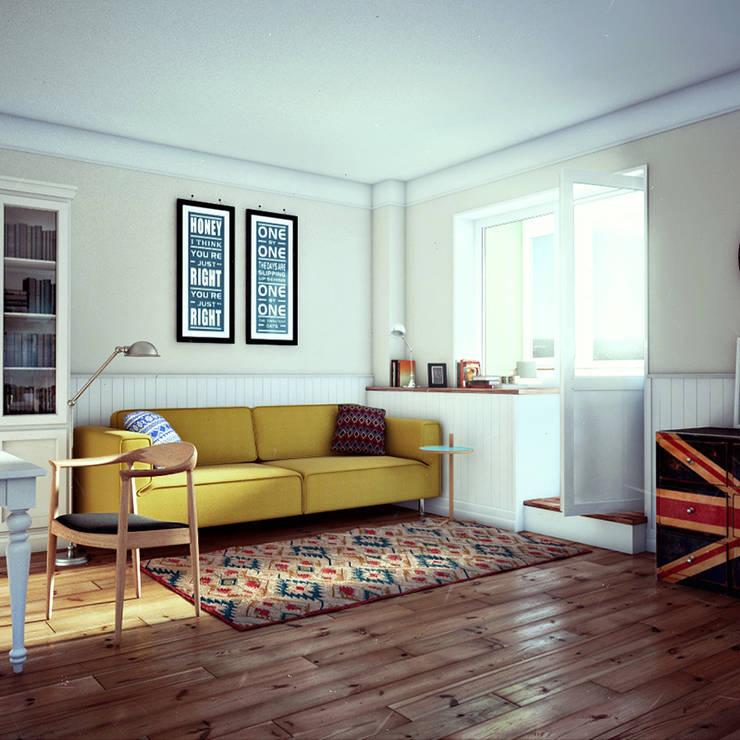 дизайн студии в скандинавском стиле: Гостиная в . Автор – sreda