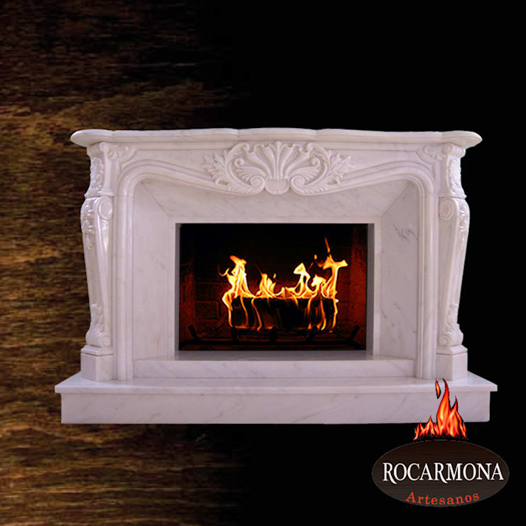 chimenea mod ra-01: Hogar de estilo  de Rocarmona Artesanos,s.l.
