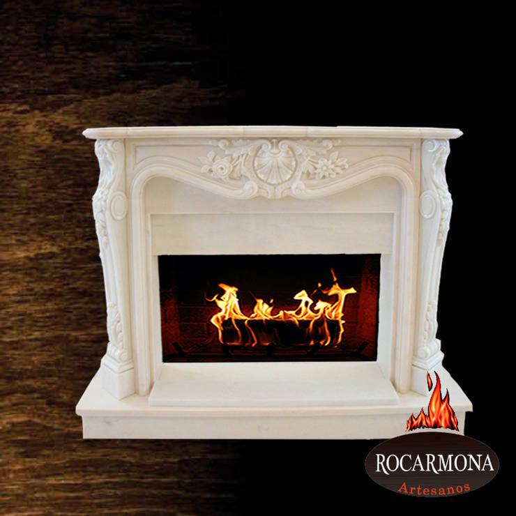 chimenea mod ra-03: Hogar de estilo  de Rocarmona Artesanos,s.l.