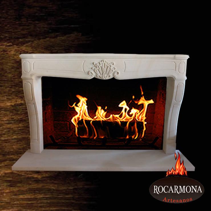chimenea mod ra-05: Hogar de estilo  de Rocarmona Artesanos,s.l.