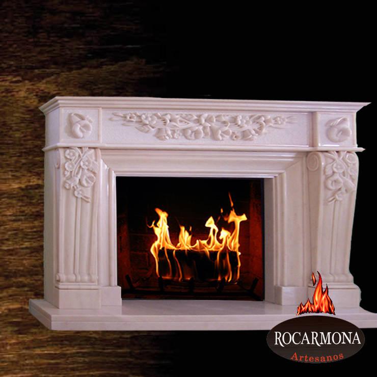 chimenea mod ra-09: Hogar de estilo  de Rocarmona Artesanos,s.l.