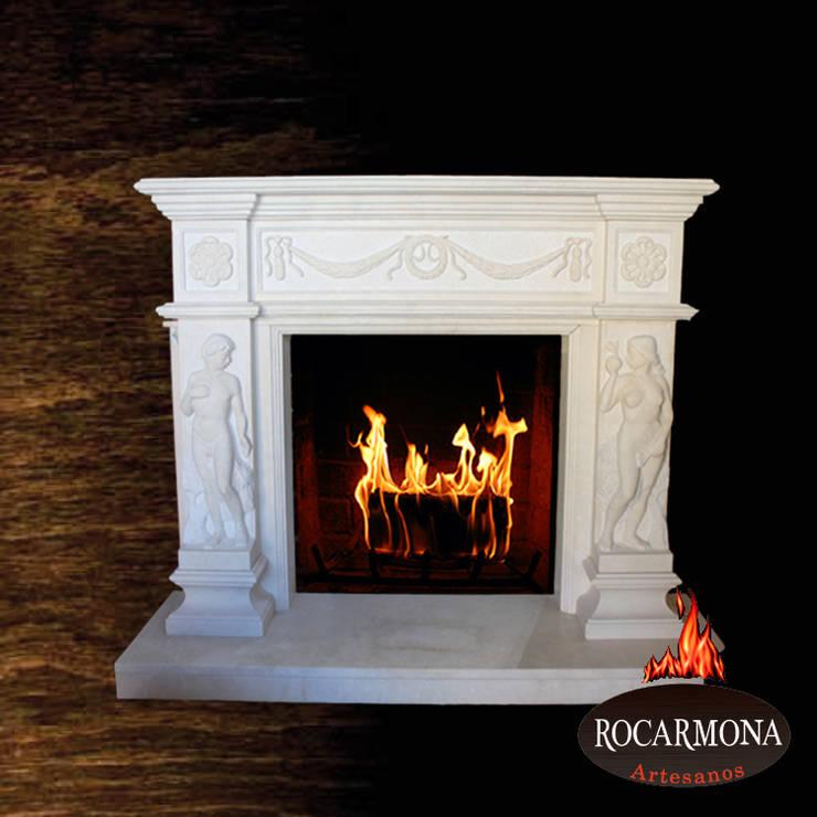 chimenea mod ra-10: Hogar de estilo  de Rocarmona Artesanos,s.l.