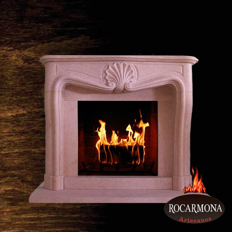chimenea mod ra-07: Hogar de estilo  de Rocarmona Artesanos,s.l.