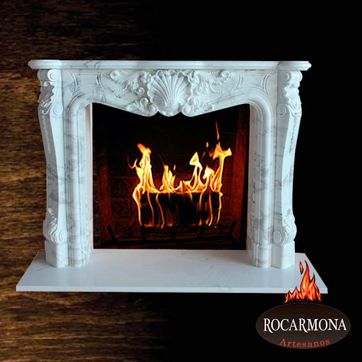 chimenea mod budapest: Hogar de estilo  de Rocarmona Artesanos,s.l.