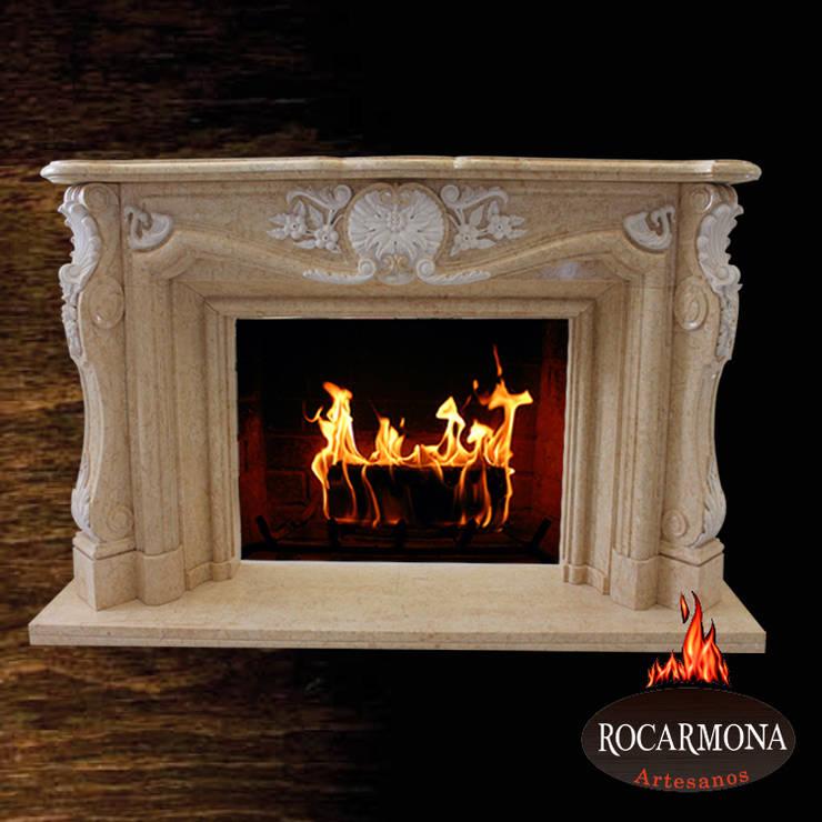 chimenea mod. venecia: Hogar de estilo  de Rocarmona Artesanos,s.l.