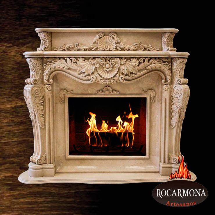 chimenea mod. marbella: Hogar de estilo  de Rocarmona Artesanos,s.l.