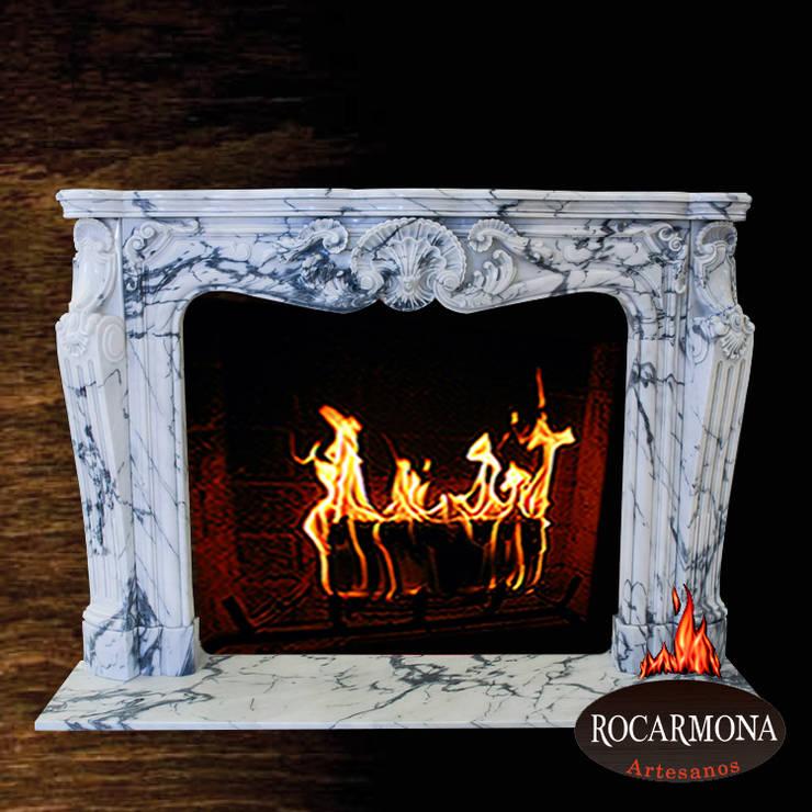 chimenea mod. marsella : Hogar de estilo  de Rocarmona Artesanos,s.l.