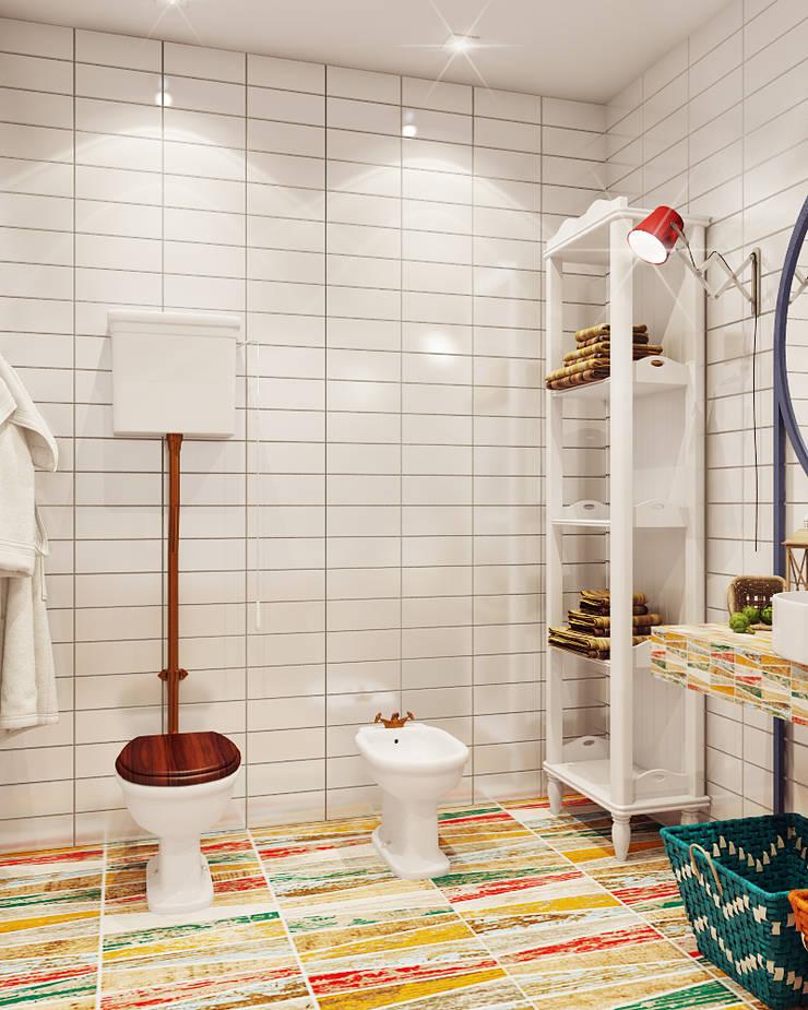 Микс фактуры и цвета: Ванные комнаты в . Автор – Частный дизайнер и декоратор Девятайкина Софья