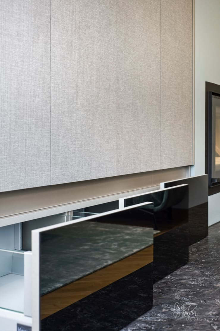 Bespoke TV Cabinet and Fireplace :  Living room by Lisa Melvin Design