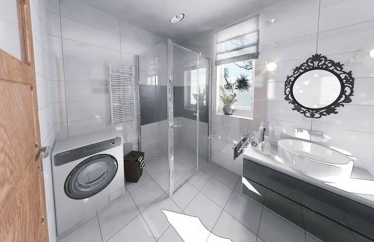 Łazienka BLACK & WHITE: styl , w kategorii Łazienka zaprojektowany przez D2 Studio,Minimalistyczny