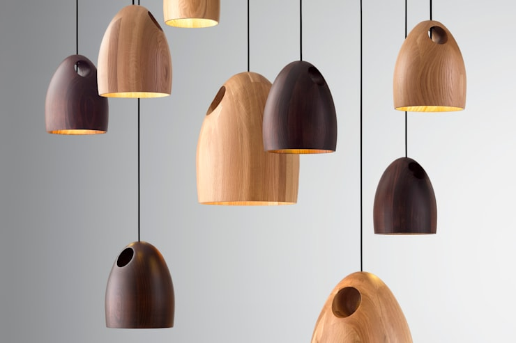 Ross Gardam OAK dębowa lampa wisząca  z ręcznie klejonego drewna: styl , w kategorii Salon zaprojektowany przez ilumia.pl