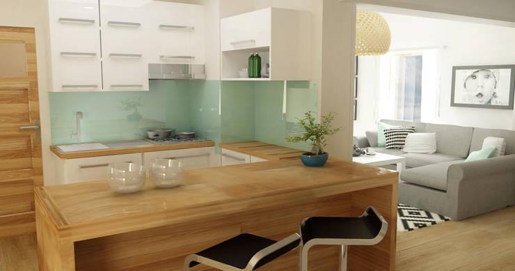 Salon z biurem i kuchnią na poddaszu - styl skandynawski: styl , w kategorii Kuchnia zaprojektowany przez D2 Studio